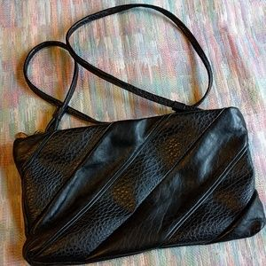 Vintage black leather crossbody / clutch