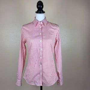 Banana Republic Striped Pink Non Iron Fitted Shirt
