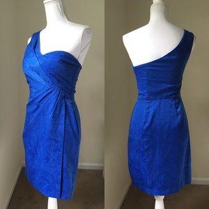 Max & Cleo Sapphire Blue One-Shoulder Dress 2