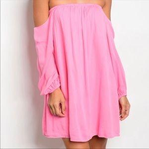 Dresses & Skirts - Off the shoulder pink mini dress