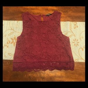 NWT wine crop top with crochet details