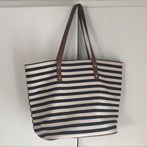 Forever 21 Navy blue Striped large Tote Bag Purse