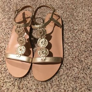 Jack Rogers gold leather sandals