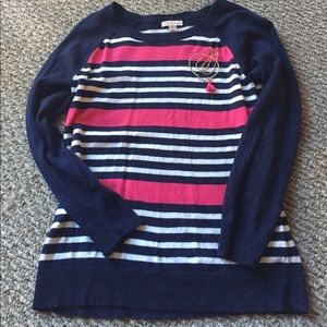 Navy 3/4 sleeve sweater with pink & white stripes
