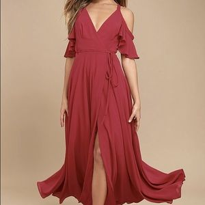 Easy Listening Berry Pink Off-Shoulder Maxi Dress