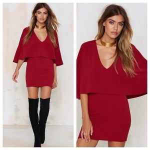 Maddy...K Red Cape Mini Dress from Nasty Gal Small