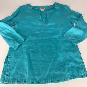 Teal Michael Kors Linen Tunic Top