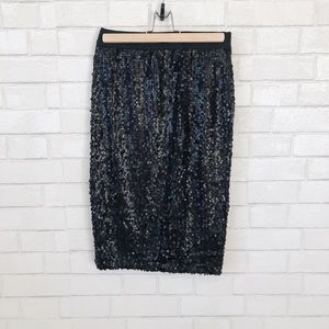 Matte Black Sequin Pencil Skirt
