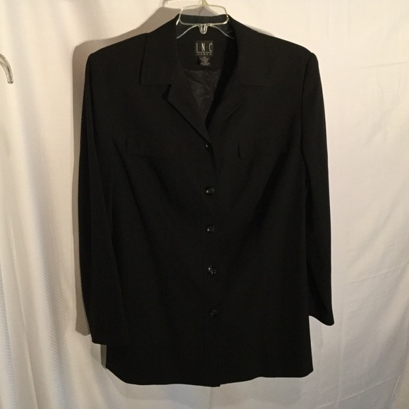 INC International Concepts Jackets & Blazers - Long style black button down blazer lined worn  1x