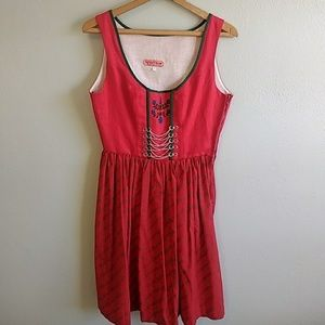Authentic Vintage German Dirndl Red Oktoberf Dress