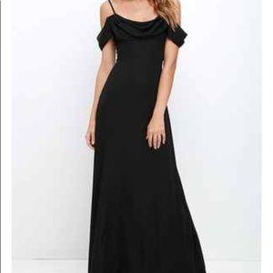 Off the Shoulder Black Maxi Dress