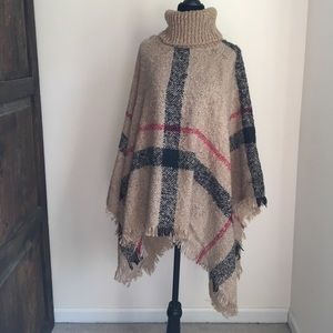 Sweaters - Plaid poncho turtleneck one size fits most NWT