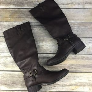 Rampage Tall Brown Round Toe Buckle Boots Size 7.5