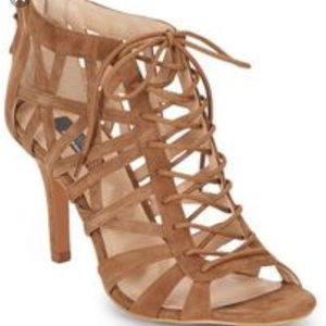 Suede Strappy Cage high heel sandals