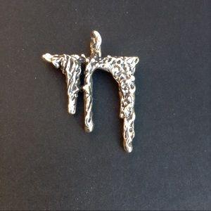 Vintage Brutalist Silver Chai Amulet