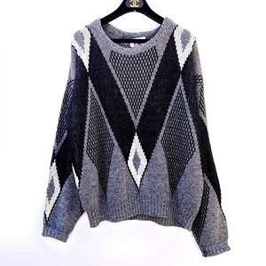 Vintage abstract Monochrome Oversized Sweater