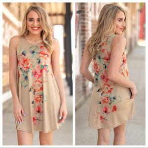 Floral Cascade Tunic Dress, Has pockets
