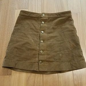 American Apparel Corduroy Button Front Skirt