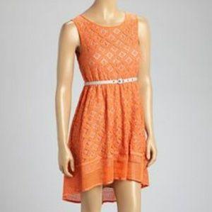 Esley orange eyelash lace highlow dress