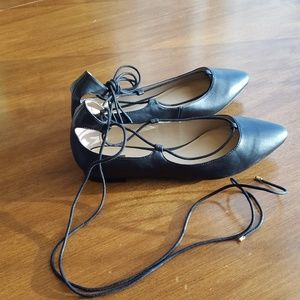 CATO black lace-up pointed toe flats