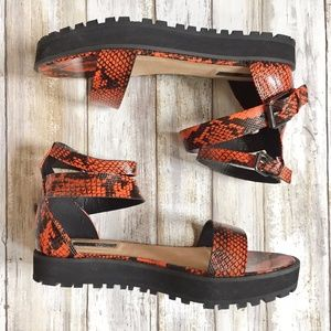 NWOT Topshop Orange Snake Ankle Strap Sandals