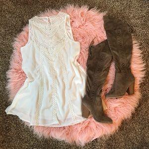 Dresses & Skirts - Crochet mesh white chiffon swing dress
