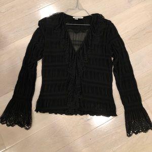 Kay Unger beautiful sheer black top.  Sz L.
