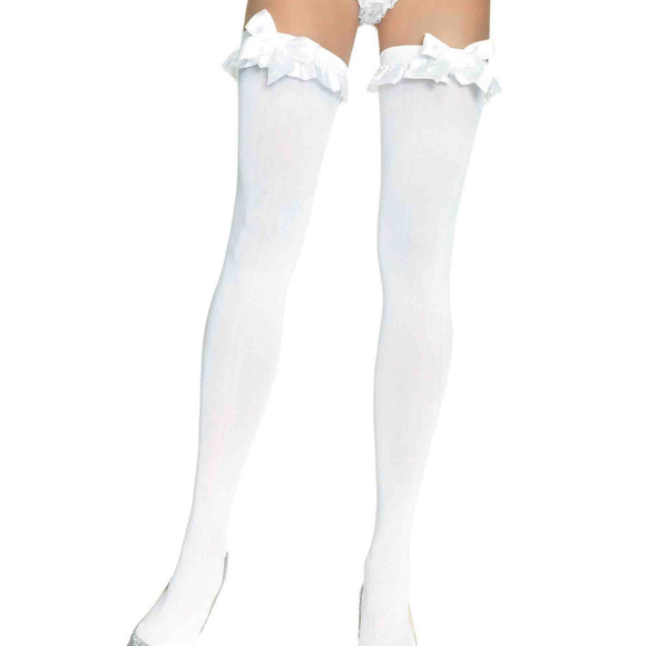 0ce08e3108cdf Leg Avenue Accessories | New White Thigh High Stockings Ruffle Bow ...