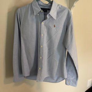 Ralph Lauren Blue Slim Fit Oxford Button Down