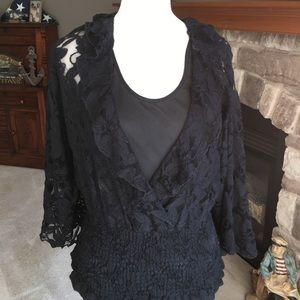 Sunny Leigh brand black lace blouse