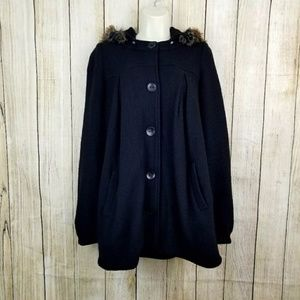 Free People Hooded Coat Black Small