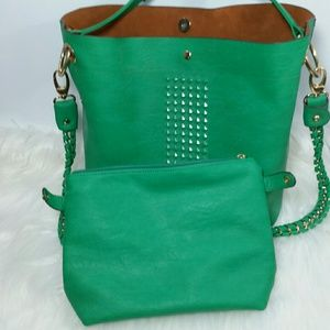 Jade Green Studded Bucket Bag Set NWOT