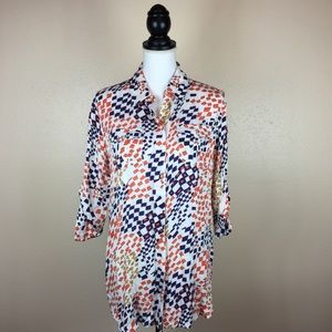 Cabi Geometric Print Roll Sleeve Tunic Blouse M