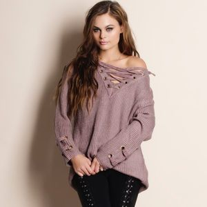 BESTSELLER Lace Up Mauve Sweater