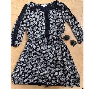 Navy Floral + Lace Dress