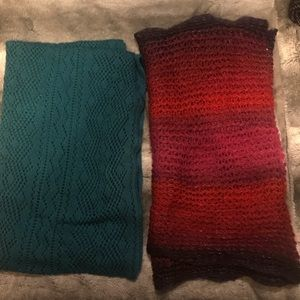 Accessories - 3/$15 Lot of Two Circle Scarves Cozy Pink Blue