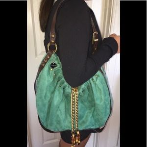 LULU💚green turquoise faux suede beaded bag💚