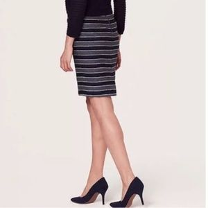 LOFT Navy Striped Tweed Pencil Skirt
