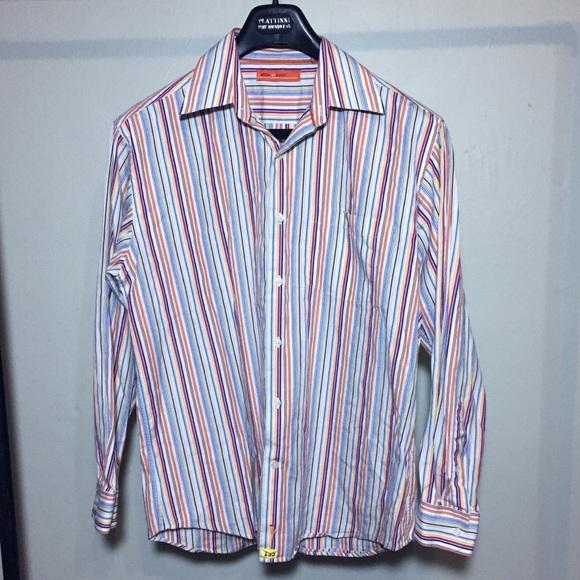 sette ponti - sette pinto Bright Colors Stripe Button Down Shirt ...
