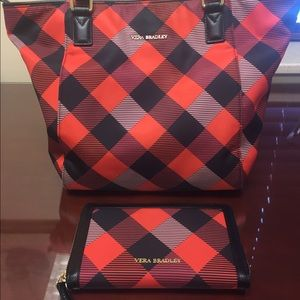 Red/black Vera Bradley tote w/matching wallet.