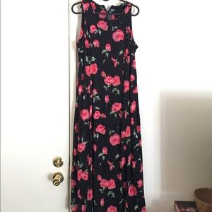 Vintage 90s Maxi Black Floral Print Dress