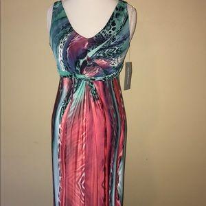 NY collections women's maxi dress Xs animal print