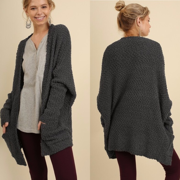 Umgee Sweaters - Cozy Charcoal Cardigan with Pockets