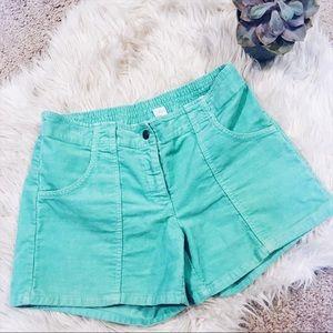 🌱 J Crew Corduroy Shorts Turquoise size 6 rare