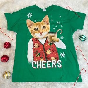 Ugly Christmas sweater cat Tshirt Men's Large