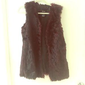 Red + Black Faux Fur Vest