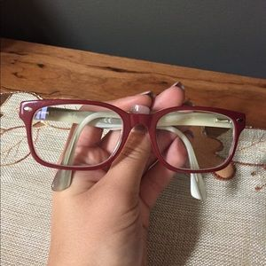 Red RayBan glasses