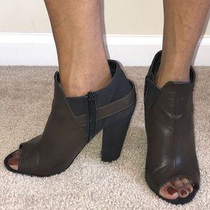 Brown faux leather Open-toe Michael Antonio Bootie