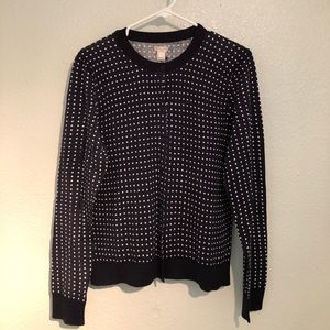 Polka dot navy and white jcrew cardi