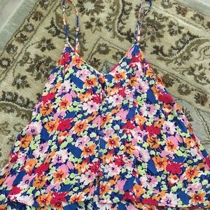 Floral flowy tank with button detail
